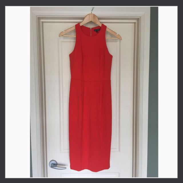 Red/Orange Midi Dress With Removable Belt