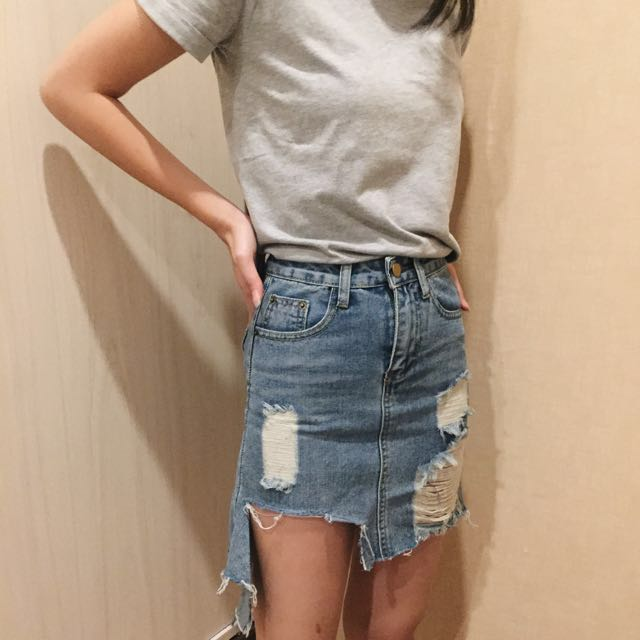 Ripped Jeans Skirt