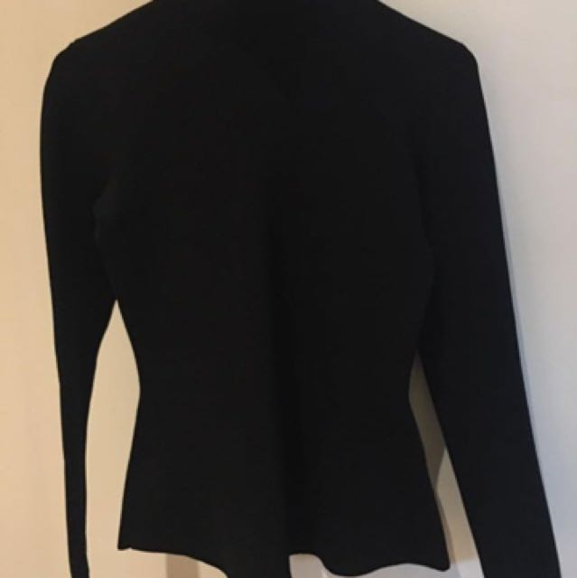 Scanlan Theodore black crepe top with high neck and peplum style size small