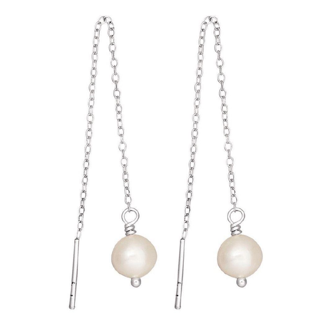 Sterling Silver Thread Pearl Earrings