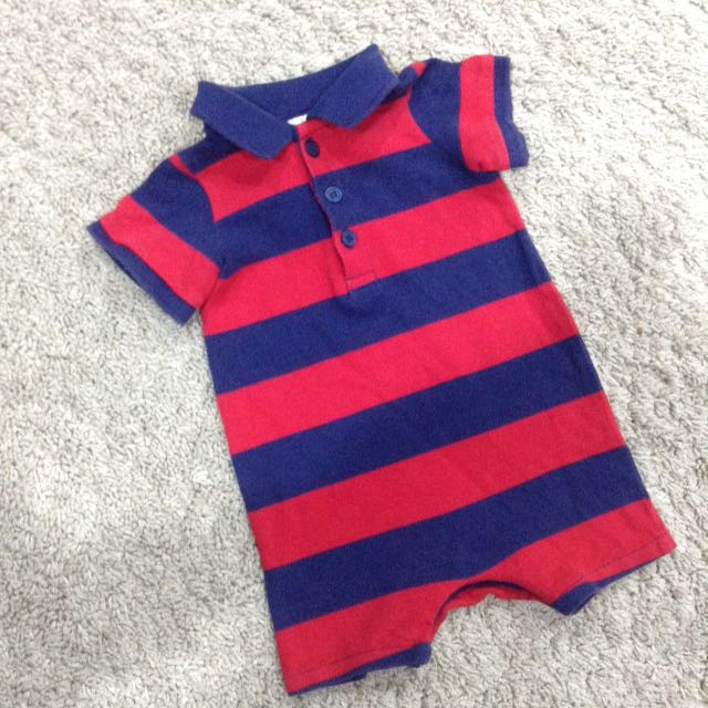 Striped Collar Polo Pique Baby Boy Smart Shirt jumper Romper Jumpsuit