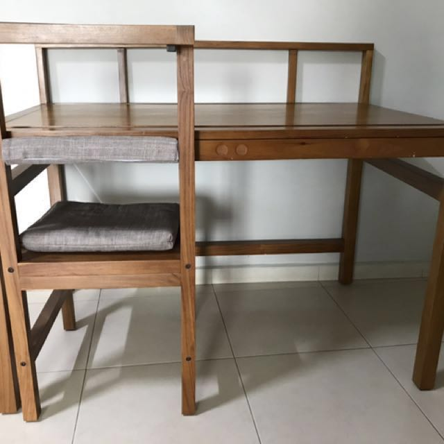 Study Table Set Nordic Teak Wood Table And Chair With Grey Cushion