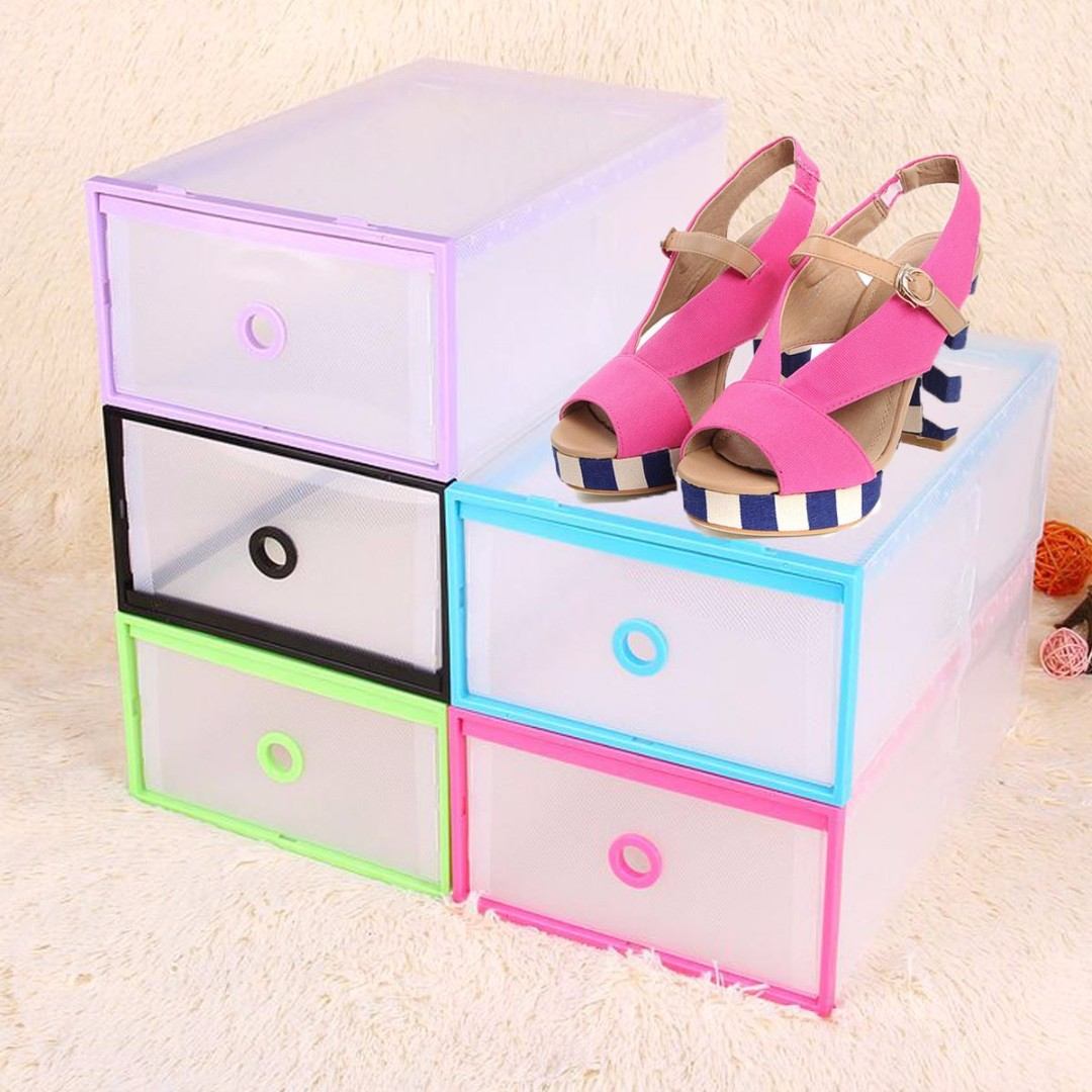 Transparent Plastic Stackable Shoe Box Home Storage Office Organizer SET OF 3