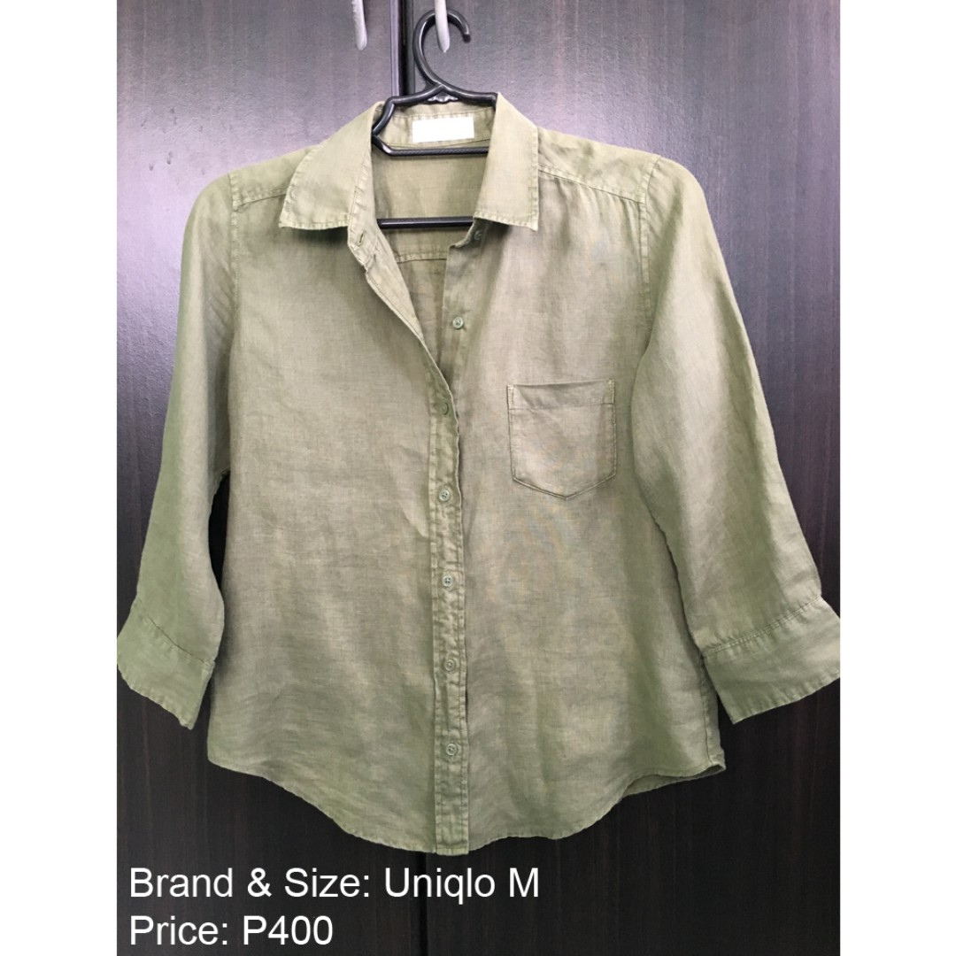 UNIQLO 3/4 Sleeve Polo Shirt Olive Army Green Top