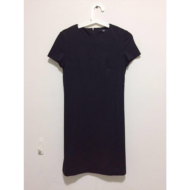 Uniqlo 黑色 素色/素面 OL 連身裙 連身套裝 長版 正式