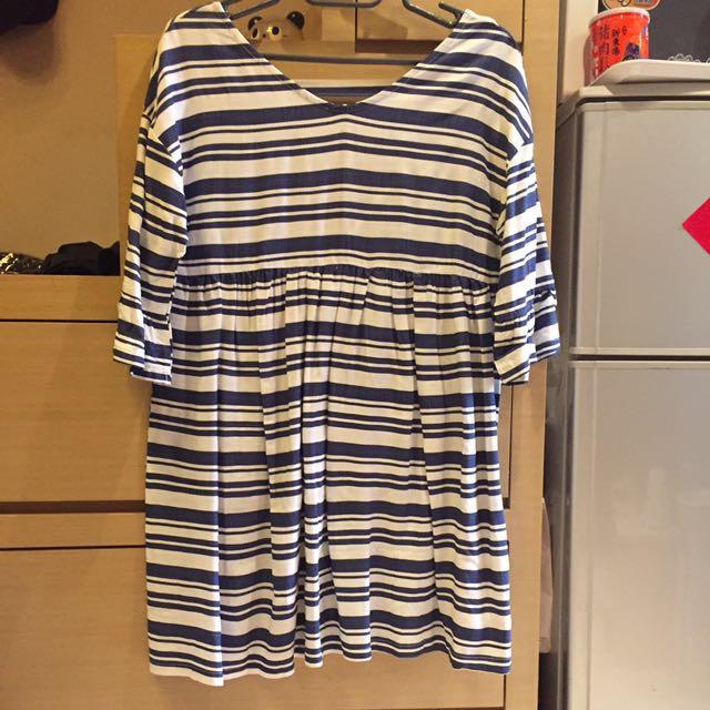 V領藍白條紋七分荷葉袖洋裝上衣(含郵局寄)