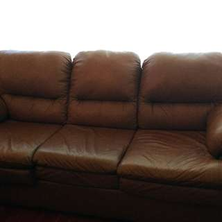 Caramel LEATHER couch set
