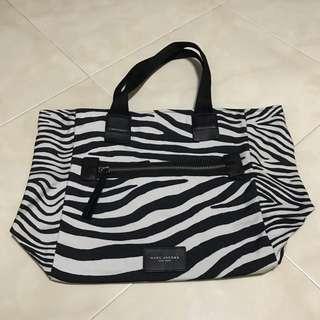 Marc Jacobs New York canvas zebra print tote bag