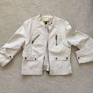 Off-white faux leather jacket