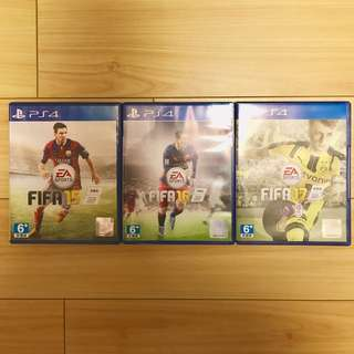 PS4 FIFA 17 + FIFA 16 & FIFA 15 [95% new no scratches, works perfectly]