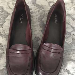 Aldo burgundy leather loafers