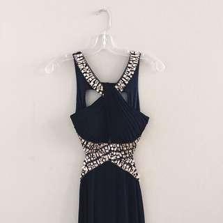 NAVY BLUE OPEN BACK DRESS