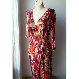 Sz Small Red/Orange print Faux wrap dress