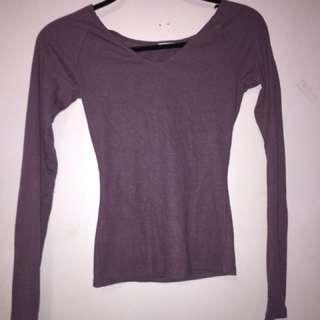 Garage Purple Long Sleeve V Neck