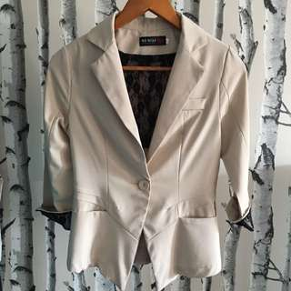 Beige Blazer with black Lace trim