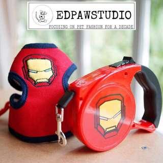 Iron man Dog leash and harness ♨️