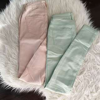 Suzy Shier Skinny Jeans - Mint & Pink (24)