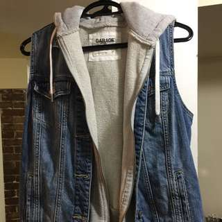 Brand new hooded denim vest