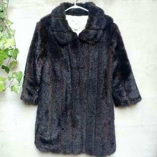 Brown Faux Fur Coat - L