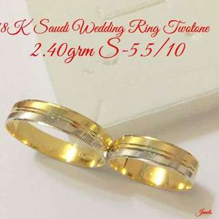 18K Saudi gold wedding ring🎀PAIR🎀