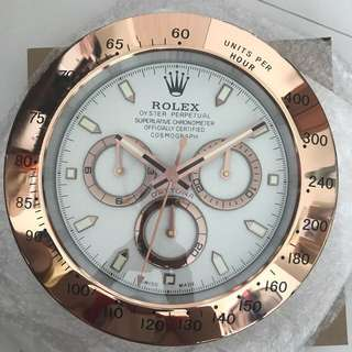 Rolex Wall Clock - Rose Gold (White Faced)