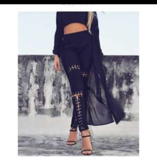 Suede black pants