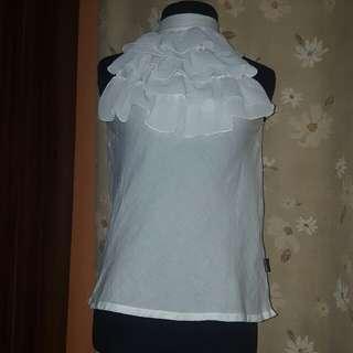 preloved unica hija ruffled white halter top