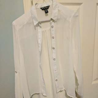 White button up sheer blouse