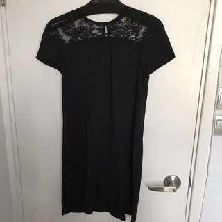 Zara black One piece dress with lace on shoulder