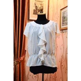 SALE!! Blouse / baju atasan kerja wanita warna putih stripes murah (+free ongkir)