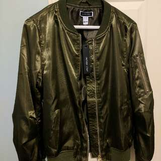 BNWT Satin Bomber Jacket Olive