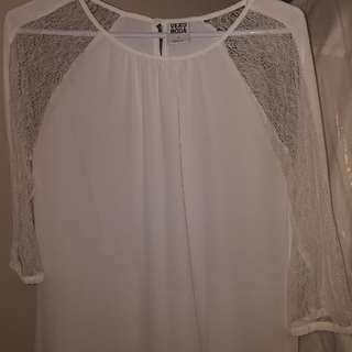 Vera Moda - White blouse with lace cut outs