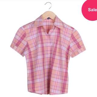 Polo Pink And Peach Square Pattern Shirt