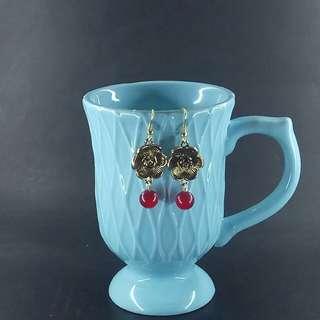 Ruby Flora Dangle Earrings - Gold