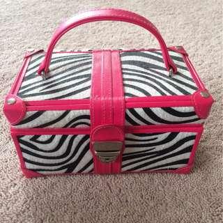 lockable hot pink zebra print jewellery case