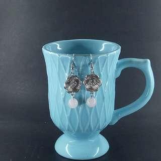 Rose Quartz Flora Dangle Earrings - Silver
