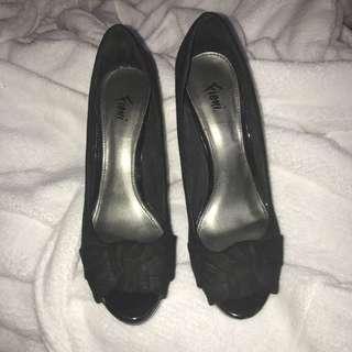 Black open toe heels (size 6)