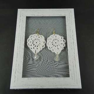 White Crochet Tear Drop Dangle Earrings