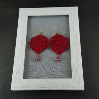 Red Crochet Tear Drop Dangle Earrings