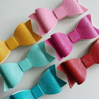 Faux lether hair bows