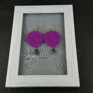 Violet Crochet Tear Drop Dangle Earrings