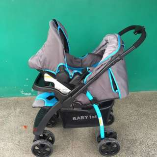 Baby first stroller and carseat