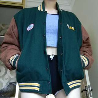 Retro Vintage Bomber Jacket Real Leather