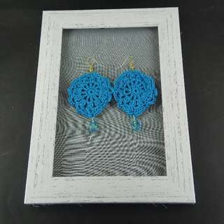 Sky Blue Crochet Tear Drop Dangle Earrings