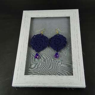 Dark Blue Crochet Tear Drop Dangle Earrings