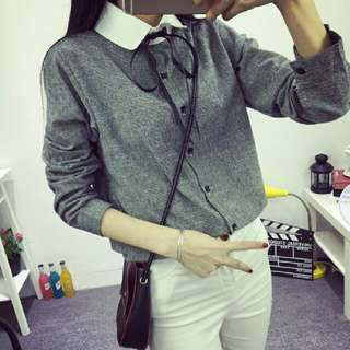 Long Sleeve Button-Up Blouse