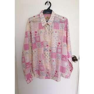 Super Cute Pink Patterned Vintage Blouse