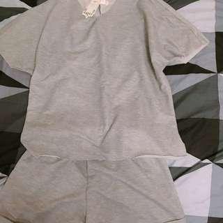 灰色毛邊休閒套裝
