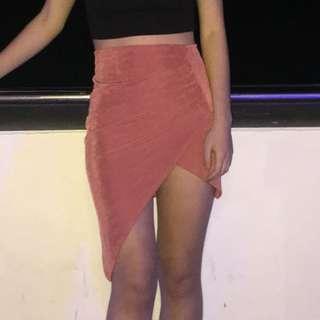 Pink wrap short skirt