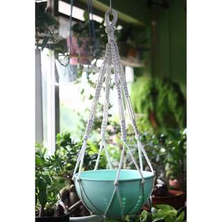 LP002 Large Handmade Macrame Rope Planter + Teal Indoor Pot (Plant not included)